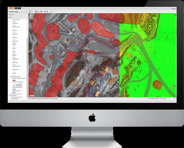 Portaltjänst för bergtäkter, inventering och volymberäkning.